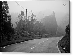 A Misty Country Road Acrylic Print