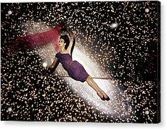 A Model Against A Galaxy Backdrop Acrylic Print by John Rawlings