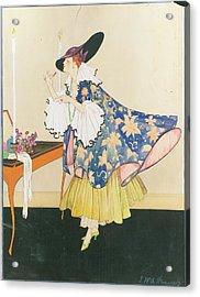 A Model Applying Lipstick Acrylic Print by E.M.A. Steinmetz