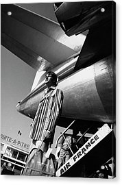 A Model By An Air France Airplane Acrylic Print by Richard Steedman