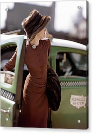 A Model Getting Out Of A Cab Acrylic Print by Constantin Joffe