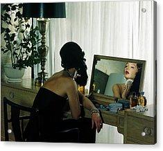 A Model Getting Ready In A Mirror Acrylic Print