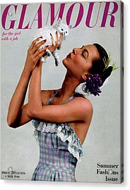 A Model Holding A Kitten Acrylic Print by Gjon Mili