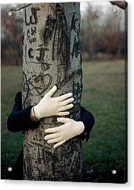 A Model Hugging A Tree Acrylic Print