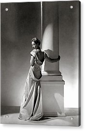 A Model In A Gown By Vionnet And Jewelry Acrylic Print by George Hoyningen-Huene
