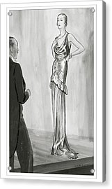 A Model In A Lanvin Gown Acrylic Print