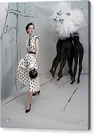 A Model In A Mollie Parnis Dress Acrylic Print by Horst P. Horst
