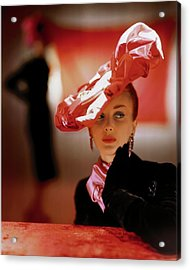 A Model In A Suzanne Et Roger Hat Acrylic Print by John Rawlings