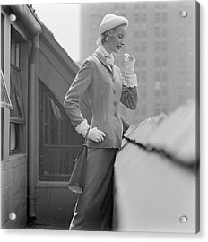 A Model In A Tweed Suit Standing On A New York Acrylic Print
