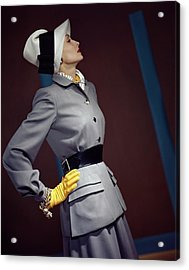 A Model In A Vogue Couturier Suit Acrylic Print