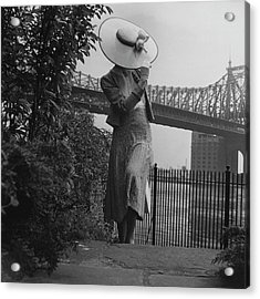 A Model In Front Of The 59th Street Bridge Acrylic Print by Horst P Horst