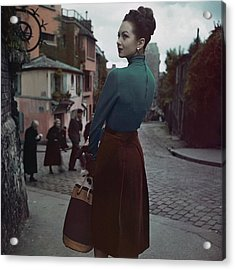 A Model In Paris Acrylic Print by John Rawlings