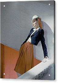 A Model Leaning On A Wall Acrylic Print by Horst P. Horst
