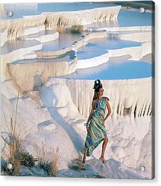 A Model On The Cliffs Of Pamukkale Acrylic Print by Henry Clarke