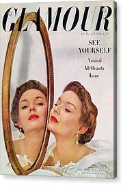 A Model Posing Against A Mirror Acrylic Print by John Rawlings