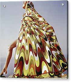 A Model Posing In A Colorful Cover-up Acrylic Print by Henry Clarke