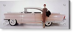 A Model Posing In Front Of A Vintage Car Acrylic Print by Karen Radkai