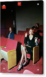 A Model Posing In Murray Hill Theatre In New York Acrylic Print