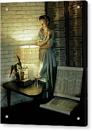 A Model Smoking By Furniture Acrylic Print