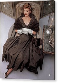 A Model Wearing A 1940s Style Evening Gown Acrylic Print by John Rawlings