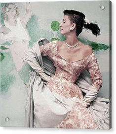 A Model Wearing A Balenciaga Dress Acrylic Print