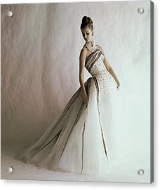 A Model Wearing A Balmain Dress Acrylic Print
