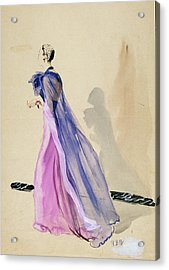 A Model Wearing A Blue Cape And Pink Chiffon Acrylic Print
