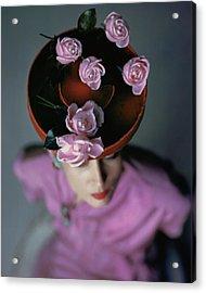 A Model Wearing A Bonwit Teller Hat Acrylic Print by John Rawlings