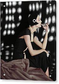 A Model Wearing A Branell Dress Acrylic Print by Karen Radkai