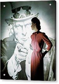A Model Wearing A Checked Dress Acrylic Print by John Rawlings