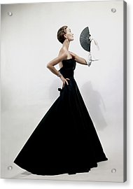 A Model Wearing A Christian Dior Dress Acrylic Print