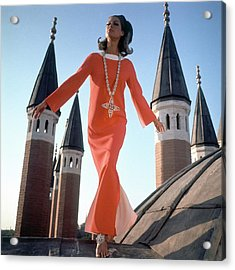 A Model Wearing A Christian Dior Dress Acrylic Print by Henry Clarke