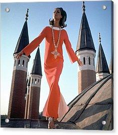 A Model Wearing A Christian Dior Dress Acrylic Print