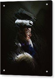 A Model Wearing A Coat And Hat Acrylic Print by John Rawlings