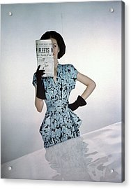 A Model Wearing A Floral Blue Dress Acrylic Print by Constantin Joff?