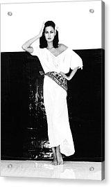 A Model Wearing A Gauze Shirt And Pants Acrylic Print