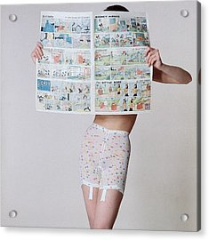 A Model Wearing A Girdle With A Comic Acrylic Print by Louis Faurer