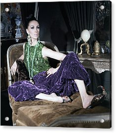 A Model Wearing A Glittery Top And Velvet Pants Acrylic Print