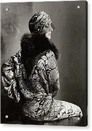 A Model Wearing A Headdress And Brocade Coat Acrylic Print by Edward Steichen