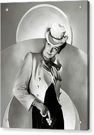 A Model Wearing A Jacket And Hat Acrylic Print by Horst P. Horst