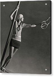 A Model Wearing A Jean Patou Bathing Suit Acrylic Print by George Hoyningen-Huene
