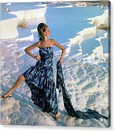 A Model Wearing A Jobere Dress Acrylic Print by Henry Clarke