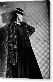 A Model Wearing A Mainbocher Coat And At Talbot Acrylic Print by Horst P. Horst