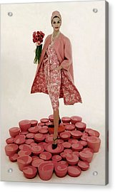 A Model Wearing A Matching Pink Outfit Holding Acrylic Print by William Bell