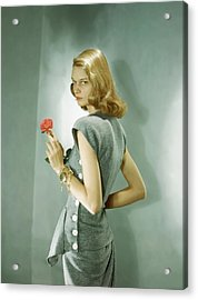A Model Wearing A Matching Shirt And Skirt Acrylic Print