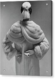 A Model Wearing A Mink Coat Acrylic Print by Erwin Blumenfeld