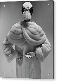A Model Wearing A Mink Coat Acrylic Print