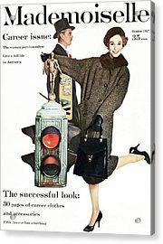A Model Wearing A Modelia Tweed Coat Acrylic Print by Stephen Colhoun