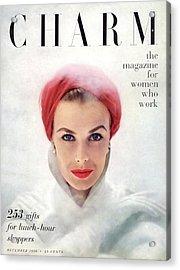 A Model Wearing A Pink Turban Acrylic Print