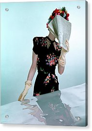 A Model Wearing A Rayon Crepe Dress Acrylic Print by Constantin Joffe